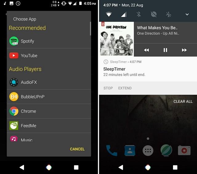 Control Sleep Timer Benachrichtigung Android