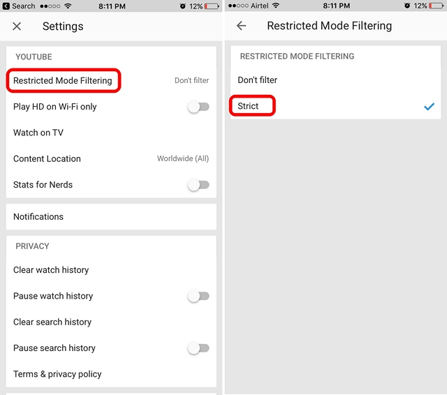 Enable YouTube Restricted Mode iPhone