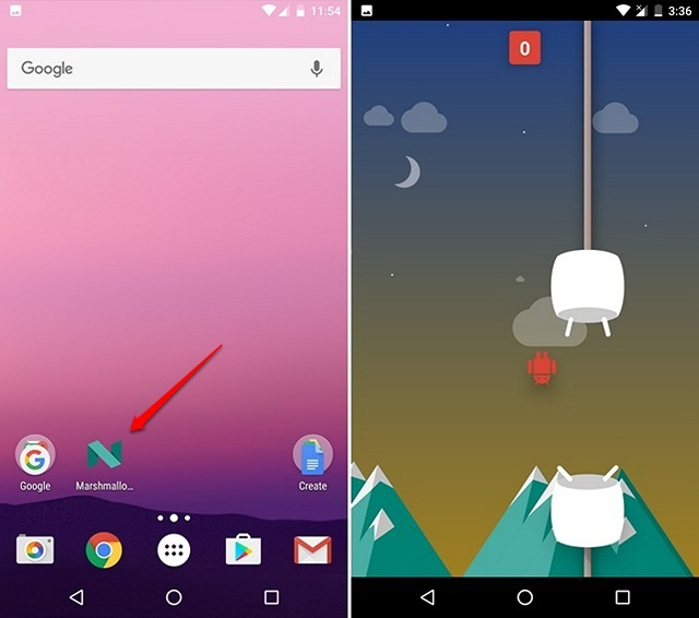 Flappy Droid game in Android Nougat