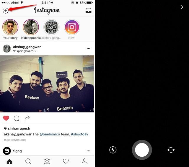 Instagram create story
