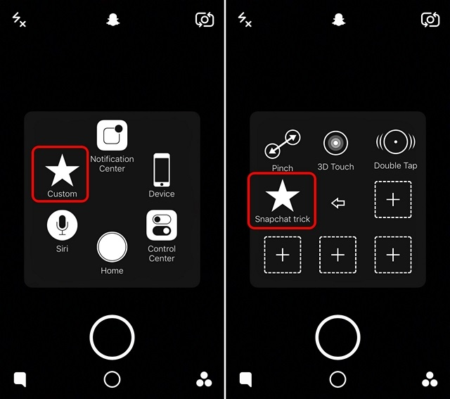 Snapchat trick gesture assistive touch