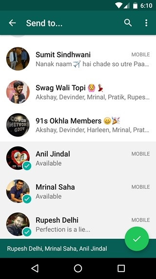WhatsApp Tricks share to multiple people