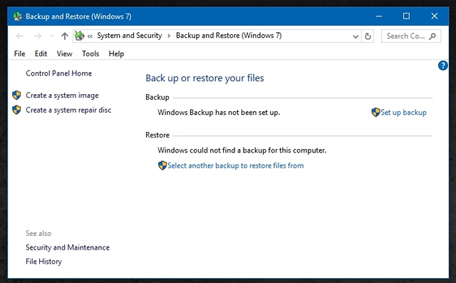 Windows 10 Backup and Restore