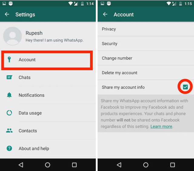 WhatsApp Data Sharing with Facebook account to checkbox