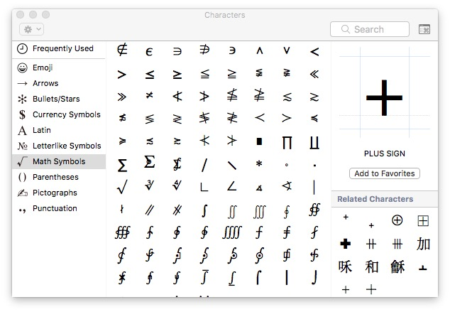 mac keyboard symbols character viewer