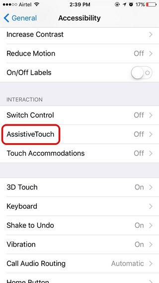 iOS Accessibility settings