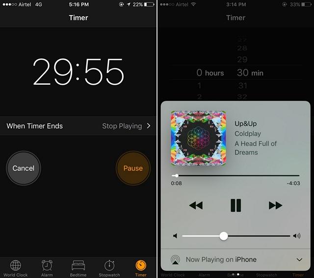 iOS startet den Sleep-Timer für Musik