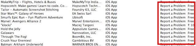 report a problem app list
