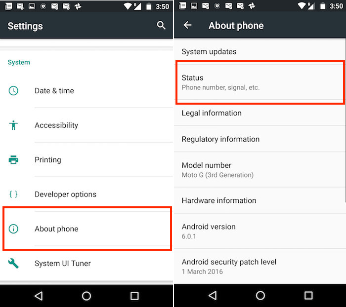 settings about phone status