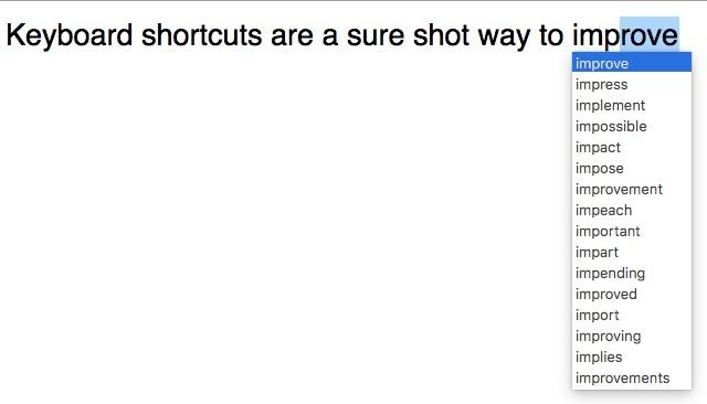 mac keyboard shortcuts text autocomplete