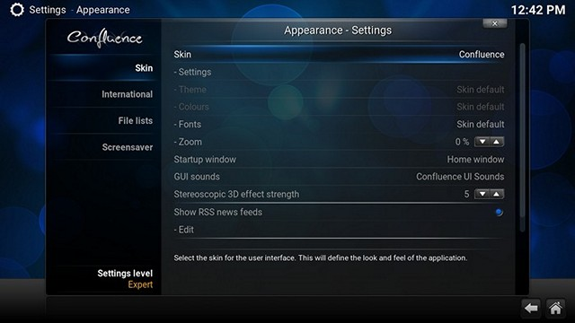 Kodi Appearance Settings