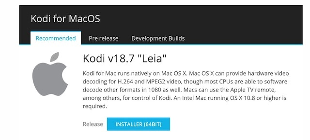 Kodi Mac Installer