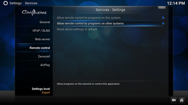 Kodi Remote Control Settings