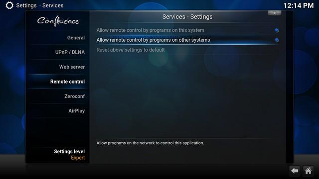 Kodi Remote Control Settings
