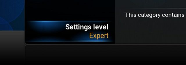 Kodi Settings Level