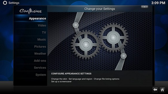 Kodi Settings Page