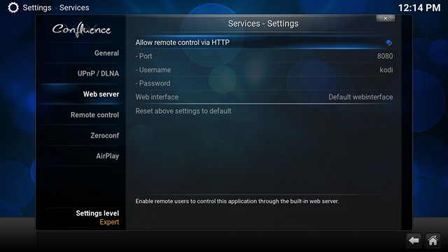 Kodi Webserver Settings