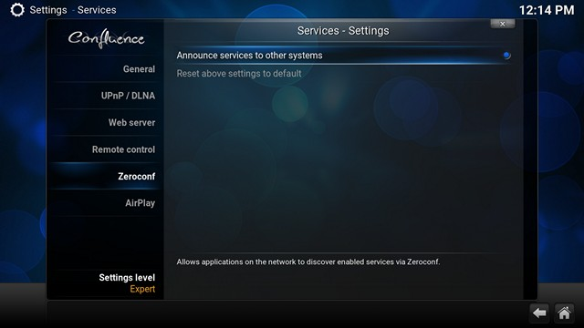 Kodi ZeroConf Settings