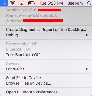 Bluetooth-Menü