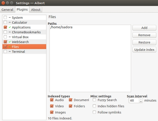 linux-find-files-albert-settings