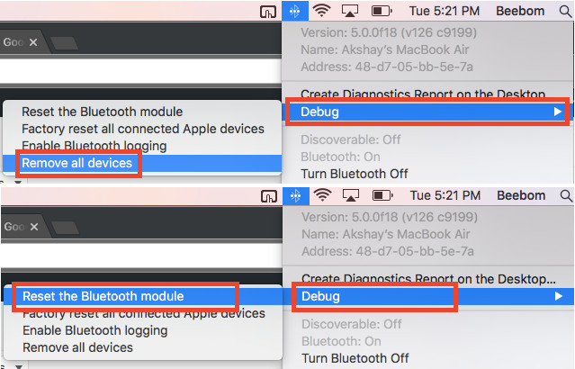 Reset-Bluetooth-Debug-Menü