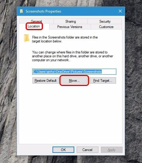 Screenshot-Eigenschaften-Fenster