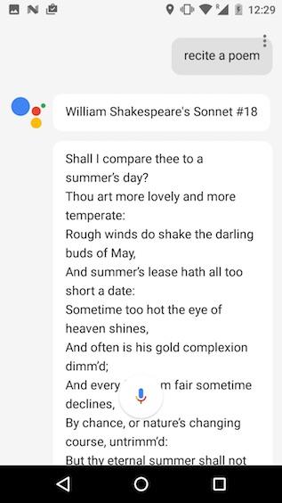 google assistant tricks recite a poem