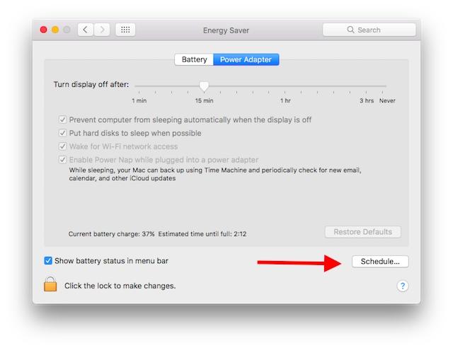 Mac Startup Shutdown schedule