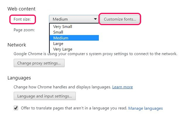 chrome-text-size-settings