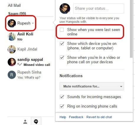 Google Mail-Hangouts-zuletzt gesehen