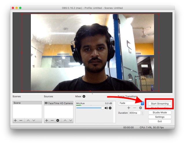 Live-Stream zu Facebook-Seiten siehe Webcam-Feed in OBS Studio
