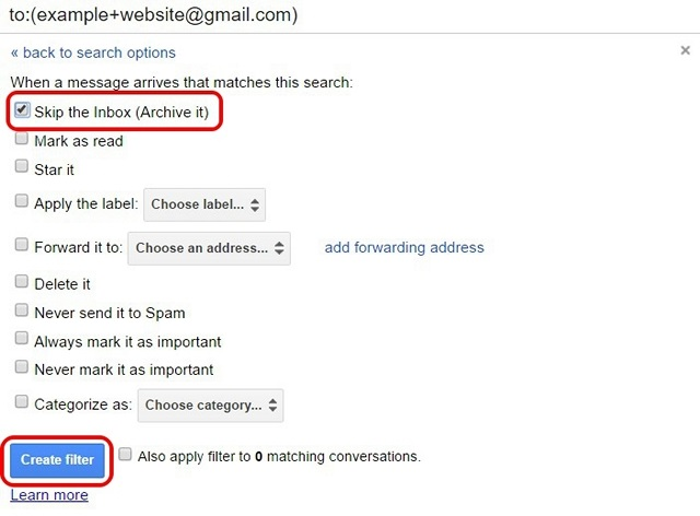 how to create email filters in gmail