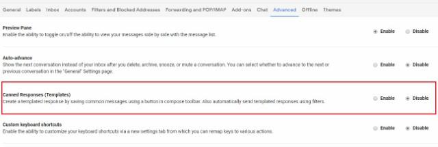 الردود المعلبة على Gmail