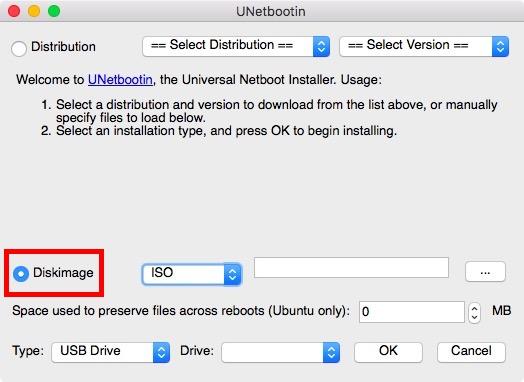 Klicken Sie auf das Optionsfeld neben dem Disk-Image