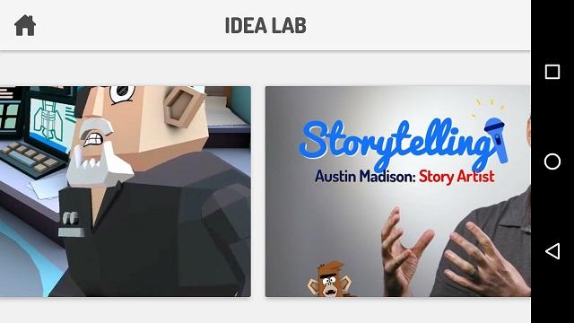 Toontastic Idea Lab-Bildschirm