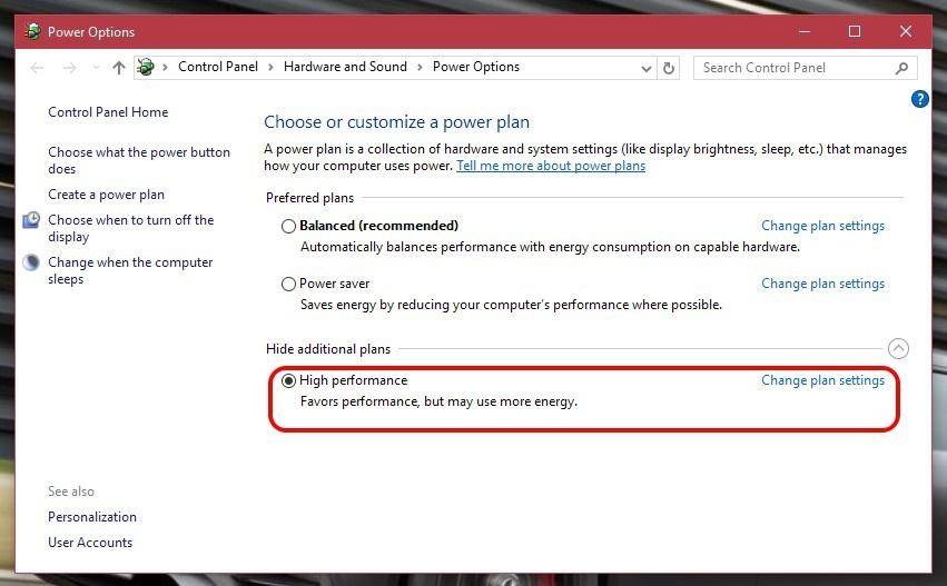 Windows 10 Güç planları