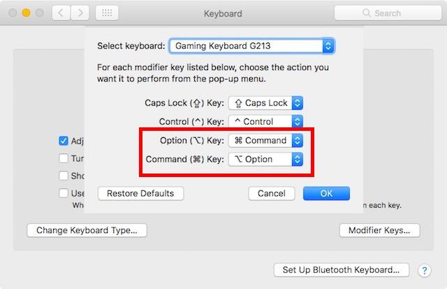 change keys
