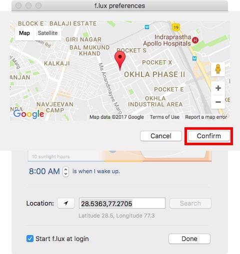 confirm location