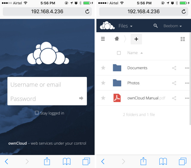 connect to owncloud server iphone safari