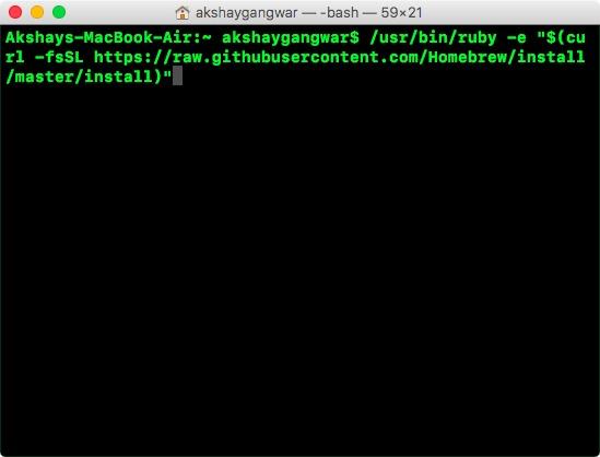 install homebrew on mac step one