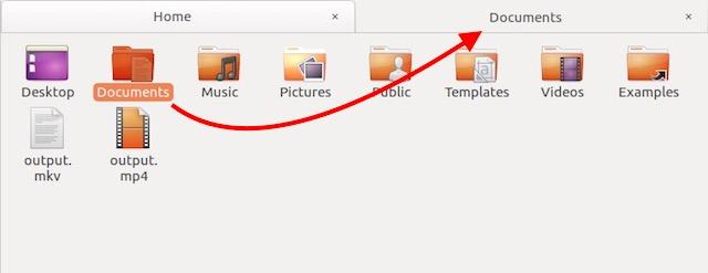 view folder contents in new tab ubuntu