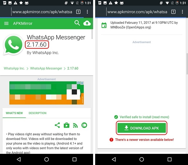 Download Older WhatsApp APK