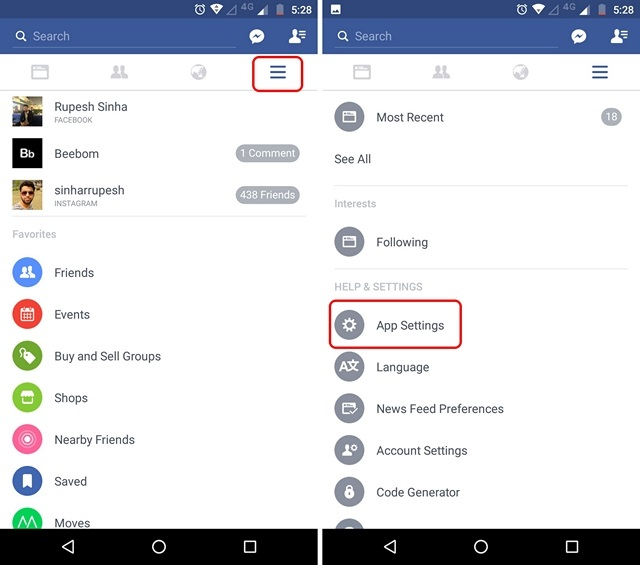 Facebook App Settings Android