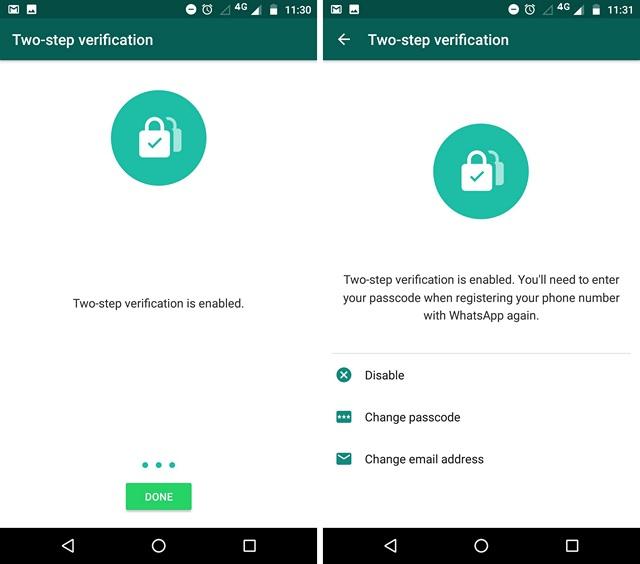 WhatsApp-Bestätigung in zwei Schritten aktiviert