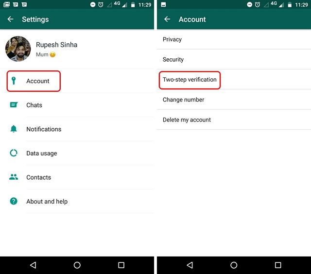Einstellungen für die zweistufige WhatsApp-Überprüfung