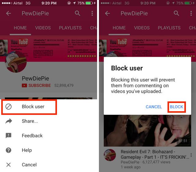 Kanal Youtube Handy blockieren