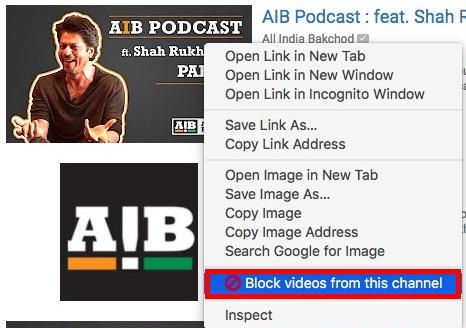 Blockiere Videos von diesem Kanal