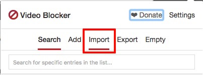 switch to import tab