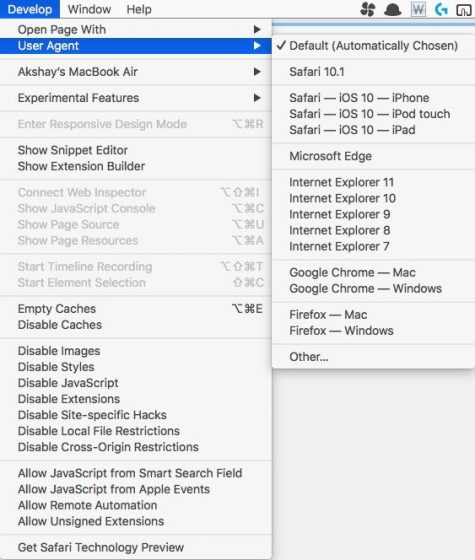 Safari develop menu
