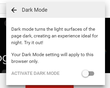 Enable YouTube Dark Mode Chrome